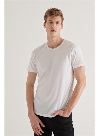Avva Erkek  Ultrasoft Bisiklet Yaka Tişört A11B1171 Beyaz